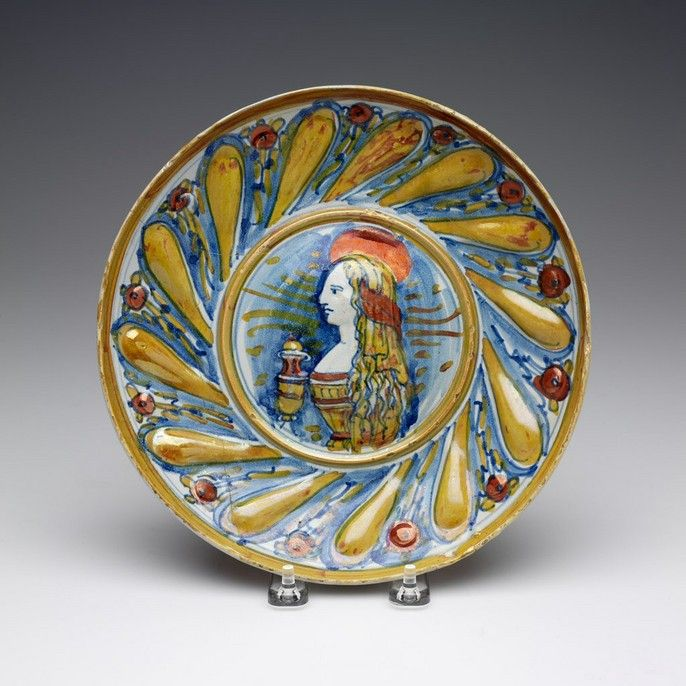 RISD Museum: Unknown artist, Italian, Italy; Gubbio. Bella donna plate with representation of Mary Magdalene, 1500-1550. Tin-glazed earthenware. Diameter: 23.2 cm (9 1/8 inches). Gift of Robert Lehman 57.302