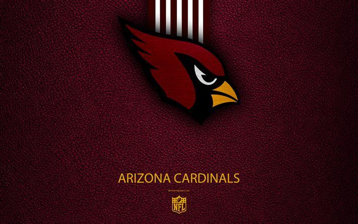 Download wallpapers Arizona Cardinals, 4k, American football, logo, emblem, Arizona, USA, NFL, burgundy leather texture, National Football League, Western Division