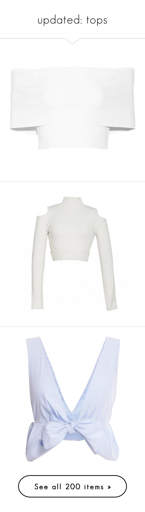 """""""updated: tops"""" by shannonmichellex ❤ liked on Polyvore featuring tops, crop tops, shirts, crop, blusas, white, white top, cut-out crop tops, off shoulder shirt and white crop shirt"""