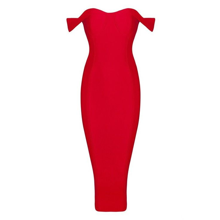 Red off the shoulder dress  Midi length  Bustier design with padded cups  Zip on reverse  Split on reverse  Bandage dress  Material: 90% Rayon, 9% Nylon 1% Spandex  Available in white, red and black  Available in XS=UK 6, S =UK 8, M = UK 10, L = UK 12