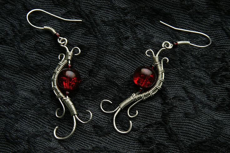 glass beads and silver plated wire earrings