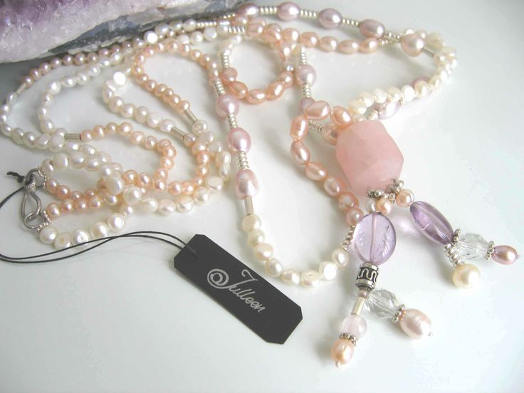 Pink, Italian Carved, Rose Quartz, Amethyst and pearl double necklace.