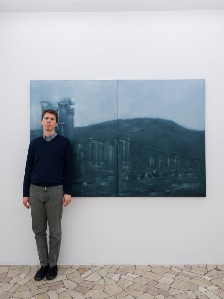 Michele Parisi with his painting frome the series Oblio, 2017 courtesy Paolo Maria Deanesi Gallery #DeanesiGallery