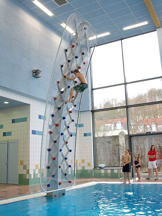 climbing and diving wall... Someday when I'm a zillionaire I'm totally having one of these built in the back yard. only it'll be at least two times higher... Raaar!