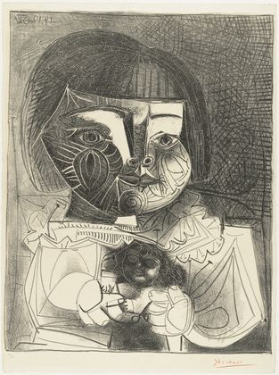 Pablo Picasso, Paloma and Her Doll on Black Background, 1952, Lithograph