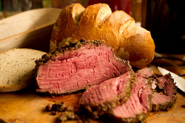 my beef sous vide and home made bread with nigella