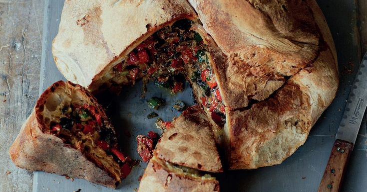Francesco Mazzei's impressive vegetarian recipe for stuffed Italian bread is sure to make a show-stopping centrepiece at any dinner party. Surprisingly quick and easy to make, you can also use a sourdough loaf.