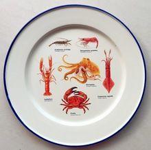 Enamelware Assiette-Solide Blanc/Crème avec crabe conception et bleu garniture