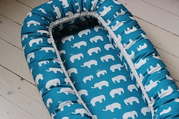 Babynest / baby nest / Blue with white elephants/ by BelisaBRAND, kr595.00