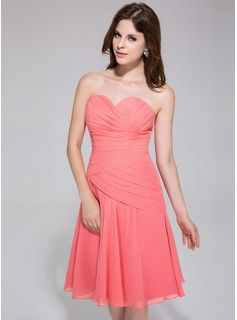 A-Line/Princess Sweetheart Knee-Length Chiffon Bridesmaid Dress With Ruffle (007026193) - JJsHouse