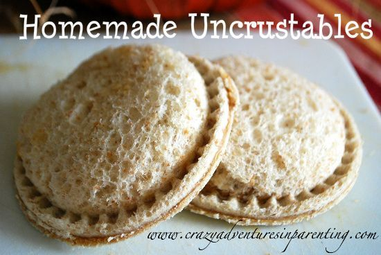 Homemade Uncrustables! [more economic, fewer added preservatives]. Make these at home with a large ravioli cutter... can even be made in advance and frozen.