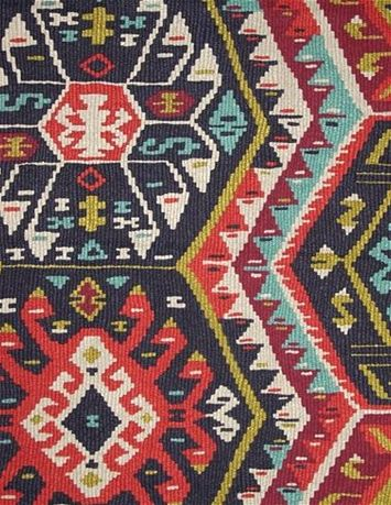 """Longrock Fiesta -  P Kaufmann Fabric - Large Kilim Pattern on 100% cotton duck. Perfect for drapery fabric or upholstery fabric. Repeat; H 27"""" x V 25.25"""". 54"""" wide"""