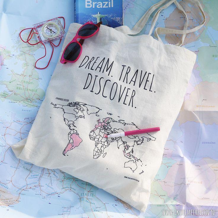 Een tas met de wereldkaart waarbij je de landen waar je bent geweest kunt inkleuren! Ik wil hem wel hebben, ook al kan ik (nog) niet zoveel inkleuren. Ikwilmeerreizen.nl