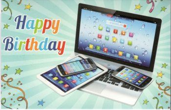 Happy birthday!   Happy birthday wenskaart met computer, tablet en mobiele telefoon