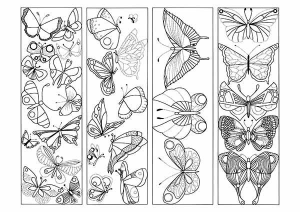 Butterfly Coloring Printable Bookmarks Jpg Pdf Four Butterfly Coloring Bookmarks Coloring Bookmarks Coloring Bookmarks Free Butterfly Coloring Page