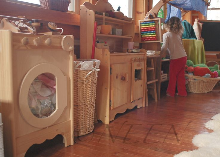 Natural Wooden Play Kitchen from Elves and Angels Neen's Reverie blog...waldorf playroom