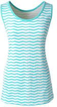 Lands' End Women's Plus Size Cotton Tank Top-Belize Aqua Chevron