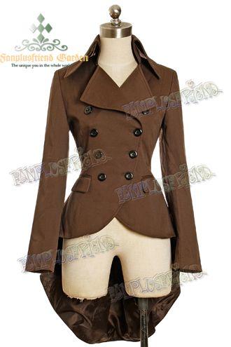 Veste élégante gothique aristocrate Tuxedo steampunk marron