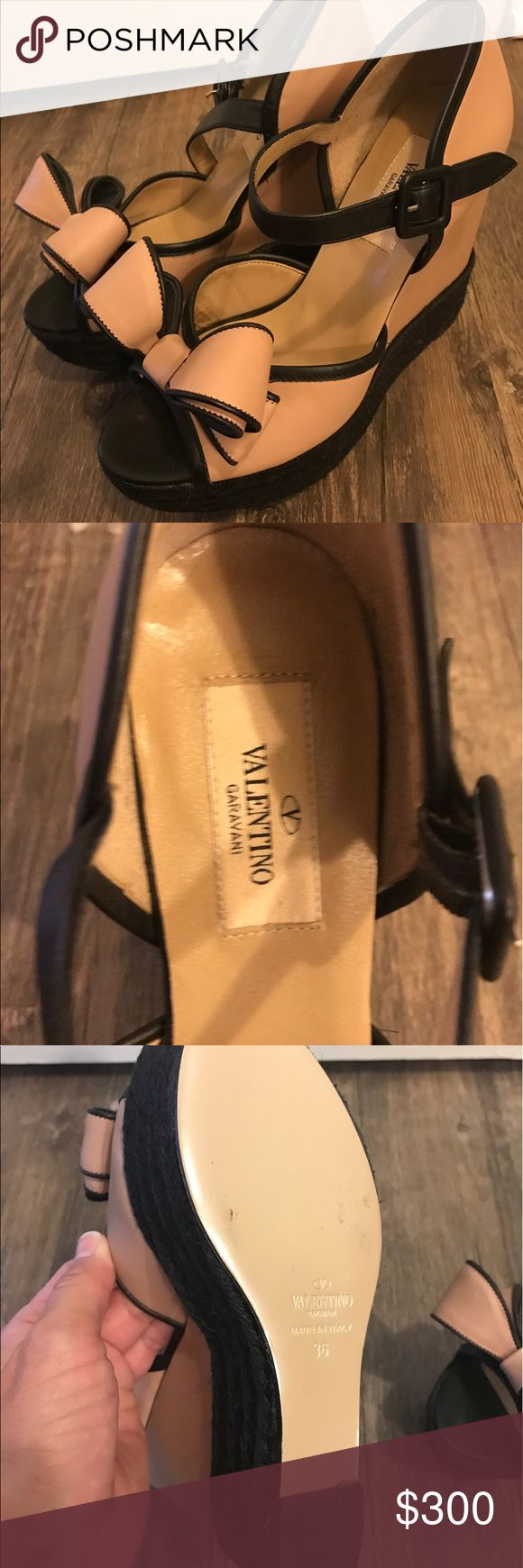 Valentino wedge pink size 36 (6) Pink and black Auth Valentino wedge. Worn once inside. Too tight for me. Beyond adorable, hard to let them go. Only imperfection is small black dot shown in last photo. These are beauties! Valentino Shoes Wedges