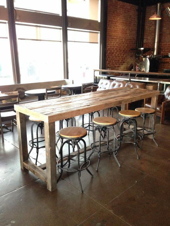 Reclaimed Wood Bar Table Restaurant Counter Community Communal Etsy Wood Bar Table Reclaimed Wood Bars High Top Tables
