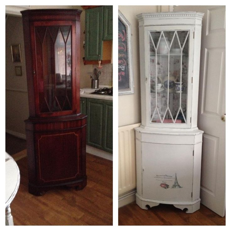 Upcycled Kitchen Cabinets: Latest Upcycled Corner Unit. Mahogany Wood To White Shabby