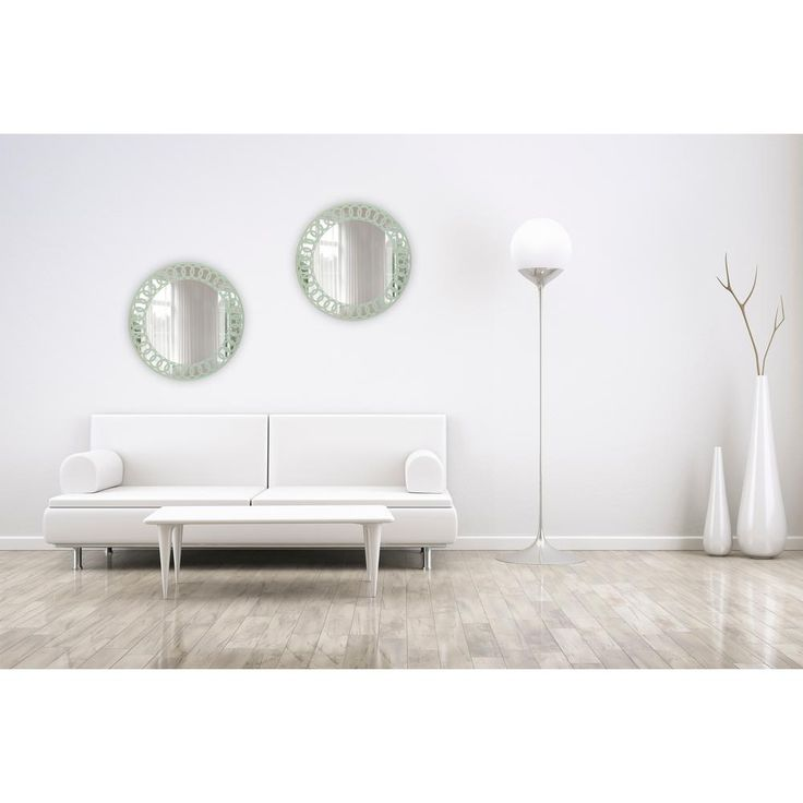 24 in. D Frameless Wall Mirror in Light Sage Green Pattern Embedded Border