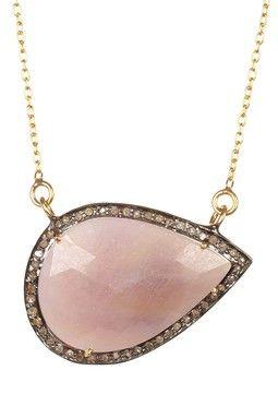 Pink Sapphire & Champagne Diamond Teardrop Pendant Necklace