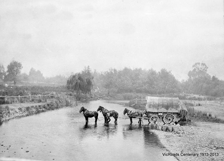 1913 Crossing Tambo River. VicRoads Centenary 1913-2013