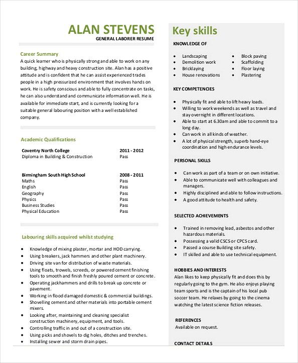 Construction Project Manager Laborer Resume Sample In 2021 Project Manager Resume Resume Examples Job Resume Examples