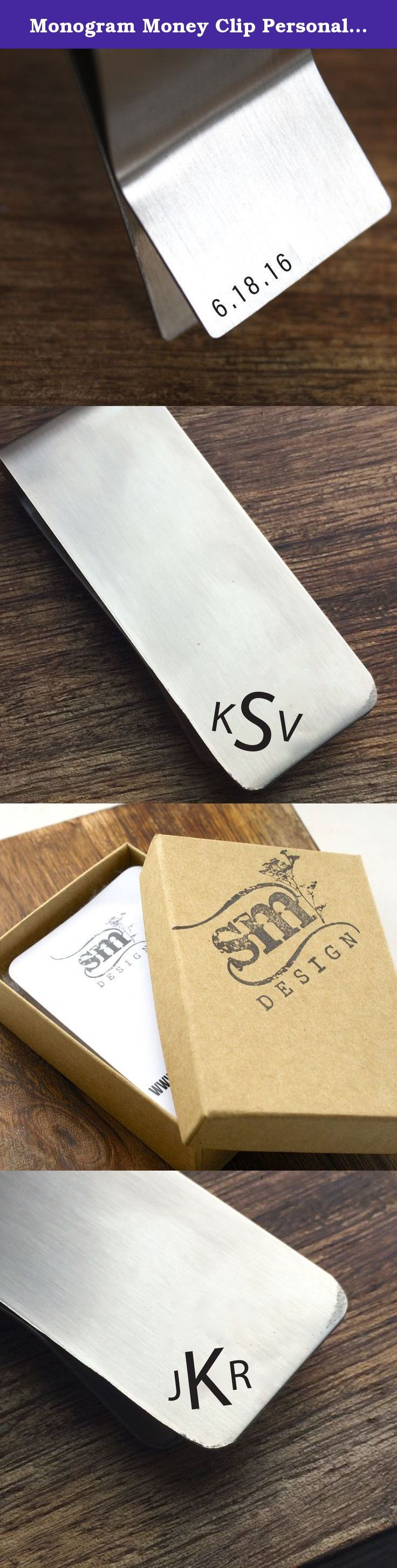 Monogram Money Clip Personalized Money Clip Initial Money Clip Mens Gift Mens Money Clip, Wedding Money Clip Boyfriend Gift Husband Gift. The perfect gift!! This stainless steel money clip has a personalized monogram on the front and a personalized date on the back.