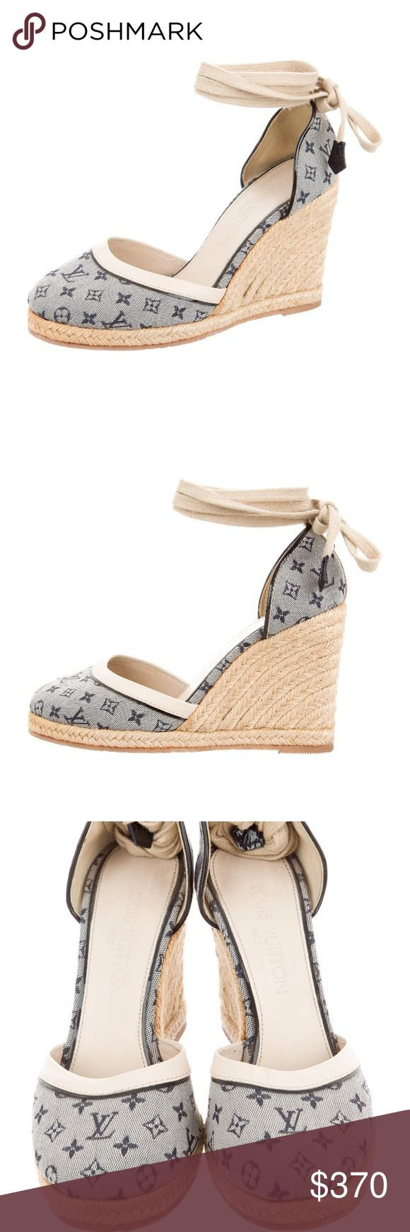 """Louis Vuitton wedges espadrilles Mini Lin authentic Louis Vuitton espadrilles. Blue and tan Louis Vuitton monogram Mini Lin wedge espadrilles with round toes, tan leather trim and ties at ankles. Includes dust bag. Size 36/ US 6 Platforms: 0.5"""" Heels: 4""""  Condition: Very Good. Minor residue at soles. Designer: Louis Vuitton  Item#: LOU139622 Louis Vuitton Shoes Espadrilles"""