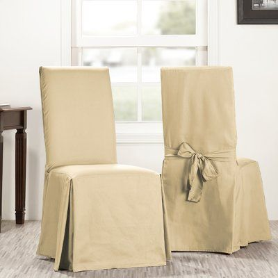 solid cotton dining chair slipcover upholstery shaker beige