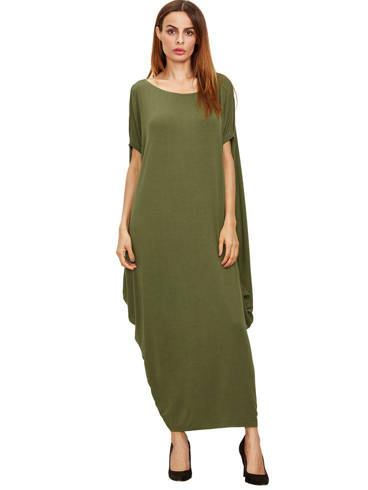 Зеленый одно плечо Dolman рукава платья макси