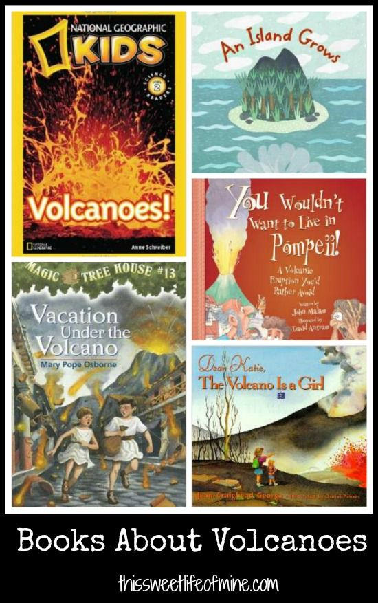Blog post with links to volcano-themed books, crafts, and activities, plus recommended books