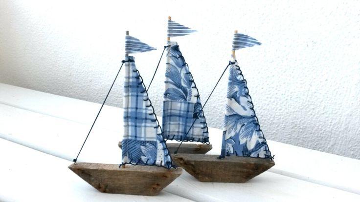 THREE Driftwood Sailboats, Driftwood Art, Driftwood Boat, Blue Sailboat, Greek Sailboats,  Set of Sailboats,  Blue Boat,  Driftwood Sailboat by WillyaCollection on Etsy