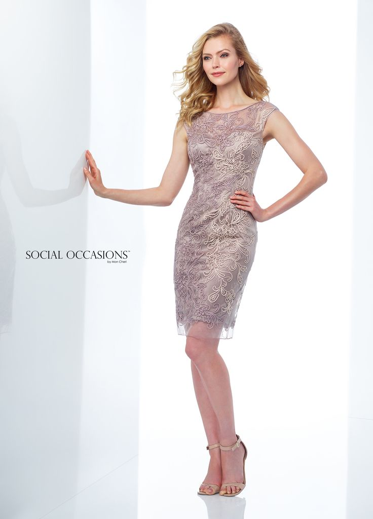 Social Occasions By Mon Cheri 118869 - Dreamy and romantic, this lace knee-length sheath with allover ombre ribbon work and beading offers illusion cap sleeves, an illusion bateau neckline, a sweetheart bodice with a natural waist, an illusion back and an extended illusion hem with a center back slit for ease of movement.