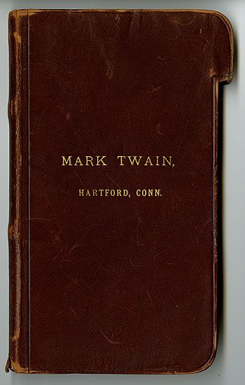 Mark Twain's pocket notebook. He had his leather bound notebooks custom made according to his own design idea. Each page had a tab; once a page had been used, he would tear off its tab, allowing him to easily find the next blank page for his jottings.