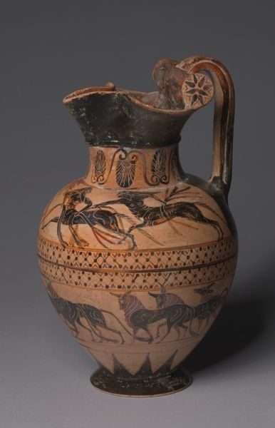 """Pontic"" Oinochoe, c. 520 BC Italy, Etruscan, 6th Century BC  black-figure terracotta"