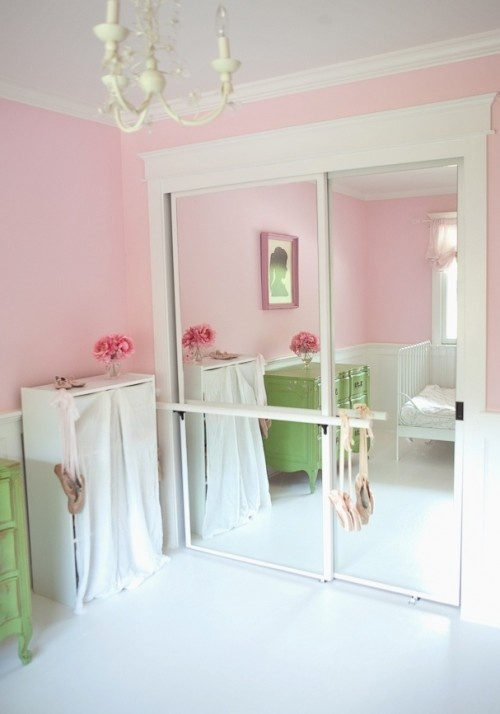 Add a barre to the mirror closet door for the little ballerina to practice - what a cute idea :)