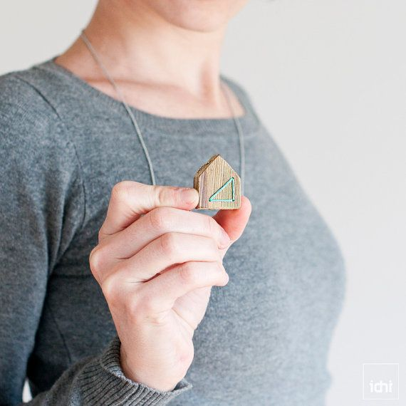 Wood House Necklace  Thread & Wood  Mint by idniama on Etsy, $22.00