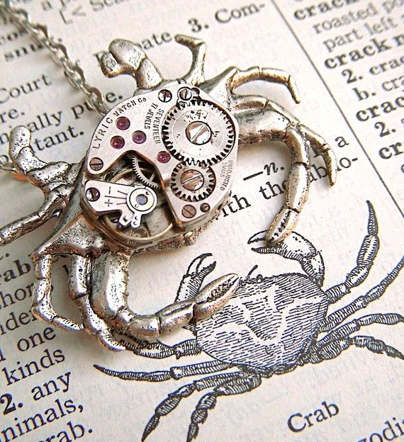Steampunk Necklace Silver Plated Nautical Crab Jewelry Vintage Watch Movement Gothic Victorian Steam Punk Antiqued Rustic Primitive Finish. $55.00, via Etsy.