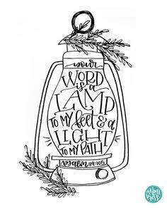 """""""Your Word is a Lamp to my Feet and a Light to my Path."""" Psalm 119:105 Bible Verse Printable by MiniPress"""