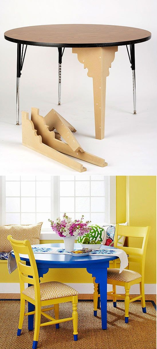 Dress up a folding table with mdf leg silhouettes. - no instructions, but pretty easy to figure out