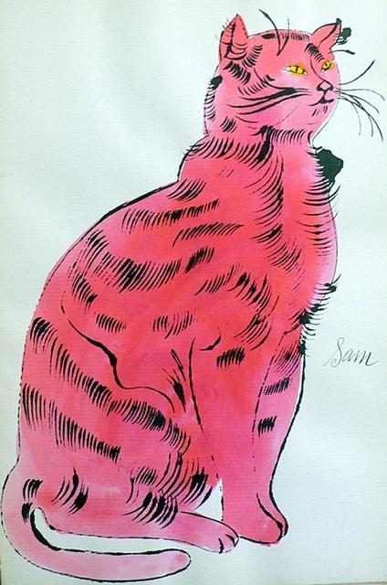 salmon-pink cat name Sam | lithograph | Andy Warhol
