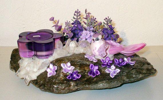 Chandelier RockFée aux vertus ésotériques puissantes Oiseau Jardin de lilas et Quartz par LAFABRIQUEFEERIQUE, $45.00