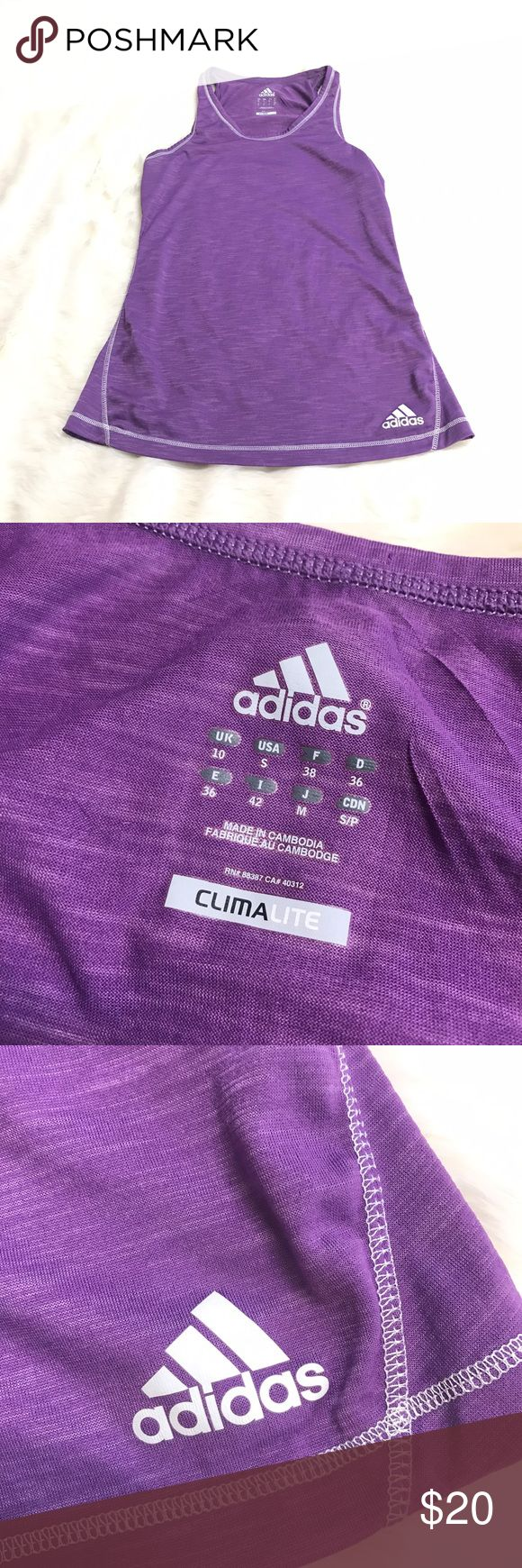Adidas Small Purple See Through Tank Top Climalite Good condition. A little lighter Purple than pics perceive. See pics for measurements. Adidas Tops Tank Tops