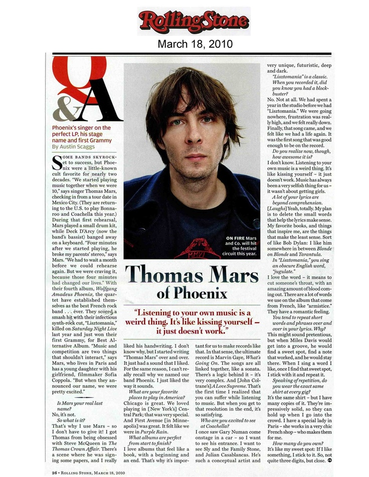 Really enlightening article with Thomas Mars