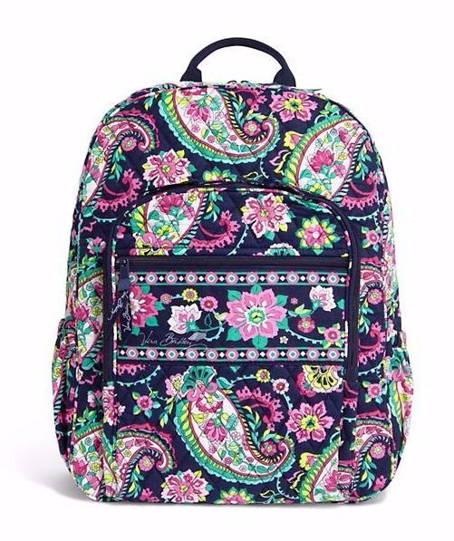 Vera Bradley Campus Backpack Large Back Pack Bag Petal Paisley New Nwt School Pinterest And Backpacks