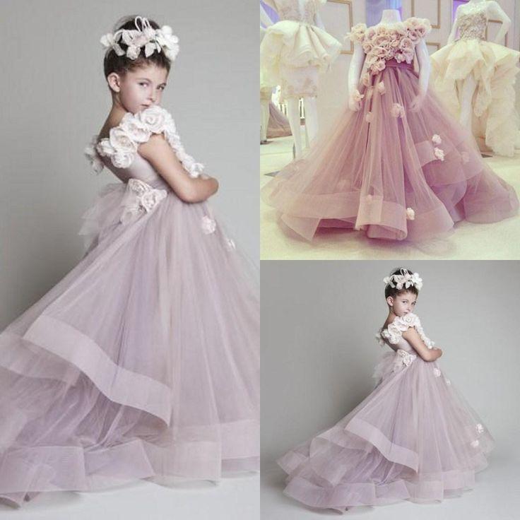 Wholesale Cutely Krikor Jabotian Children Wedding Dress For Girls 2015 Crew Ball Gowns Handmade Flowers Long Pageant Dresses Girls VT, Free shipping, $86.92/Piece | DHgate Mobile