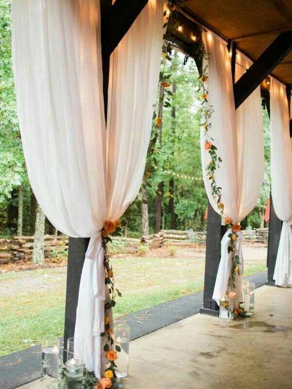 draping curtain on side beams